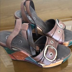 Brown/multicolored Coach wedge sandals